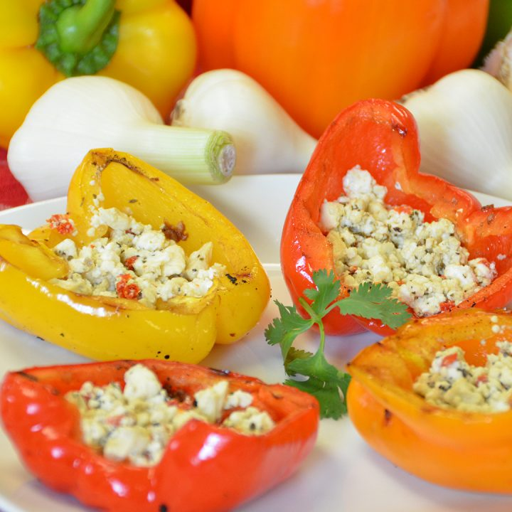 Grilled Peppers with Feta
